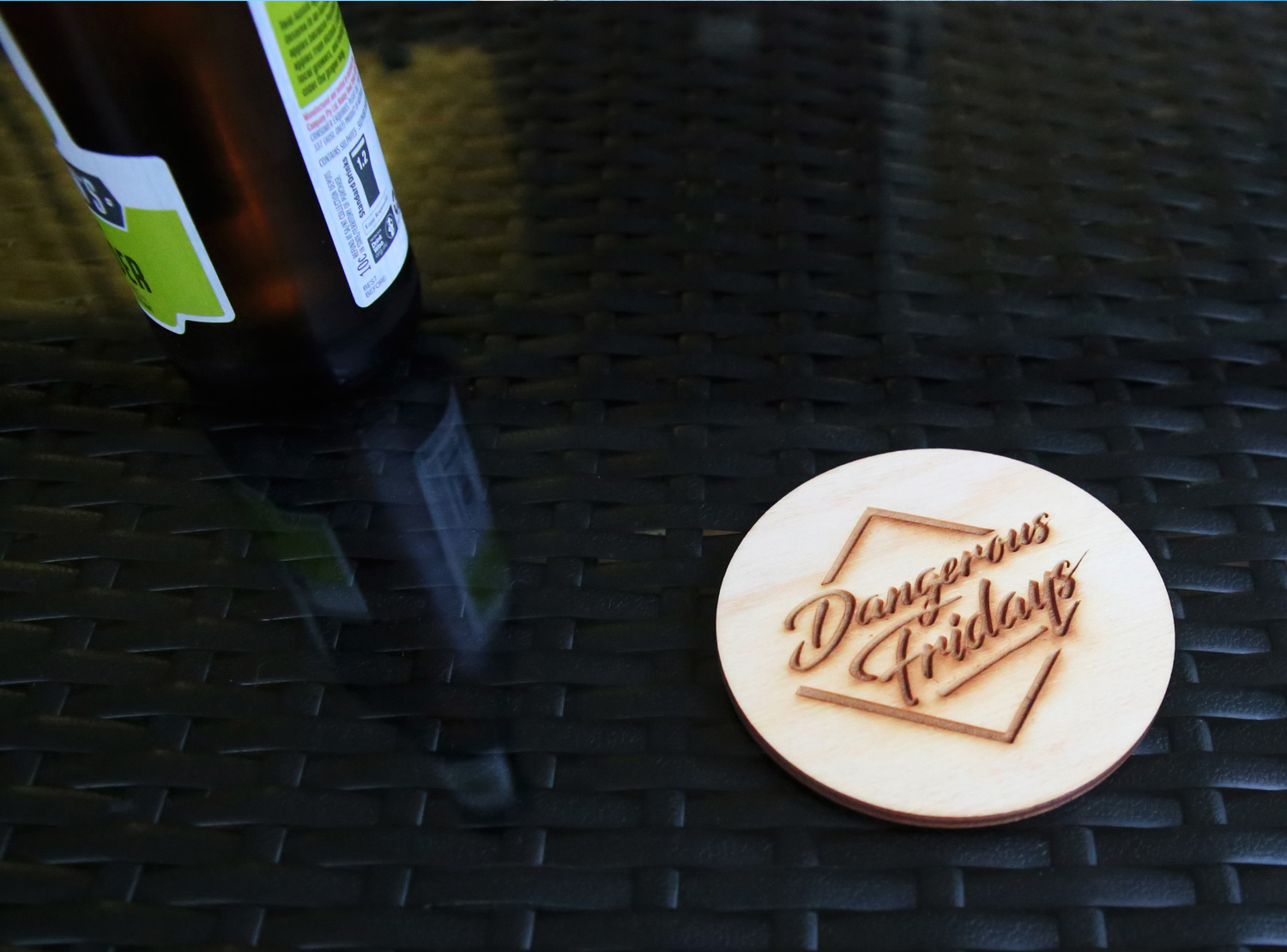 Laser Etched Plywood Drink Coasters